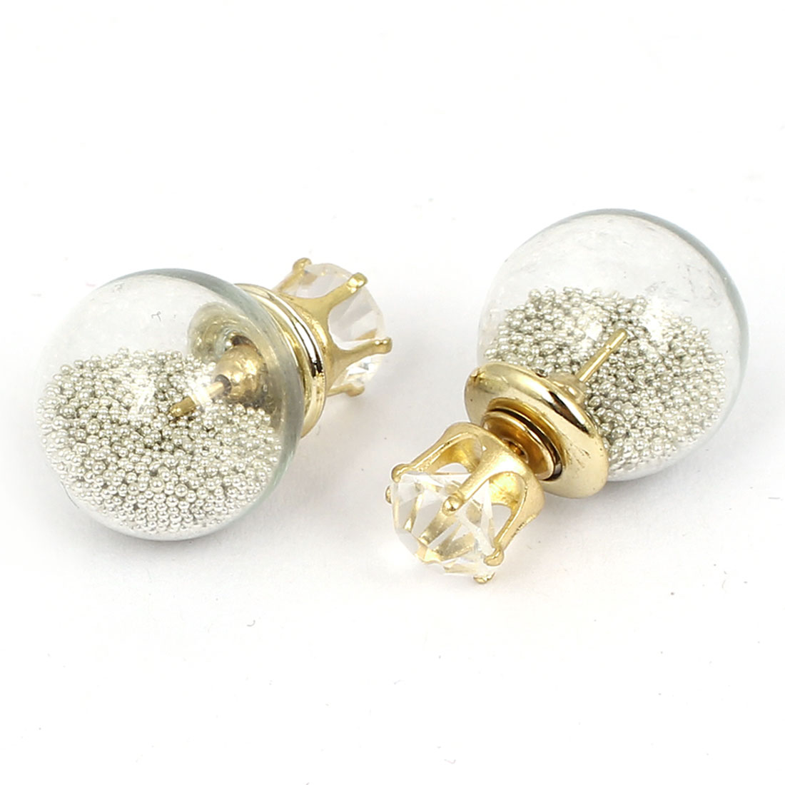 Women Faux Crystal Decor Round Bulb Design Double Side Stud Earrings Silver Tone Pair
