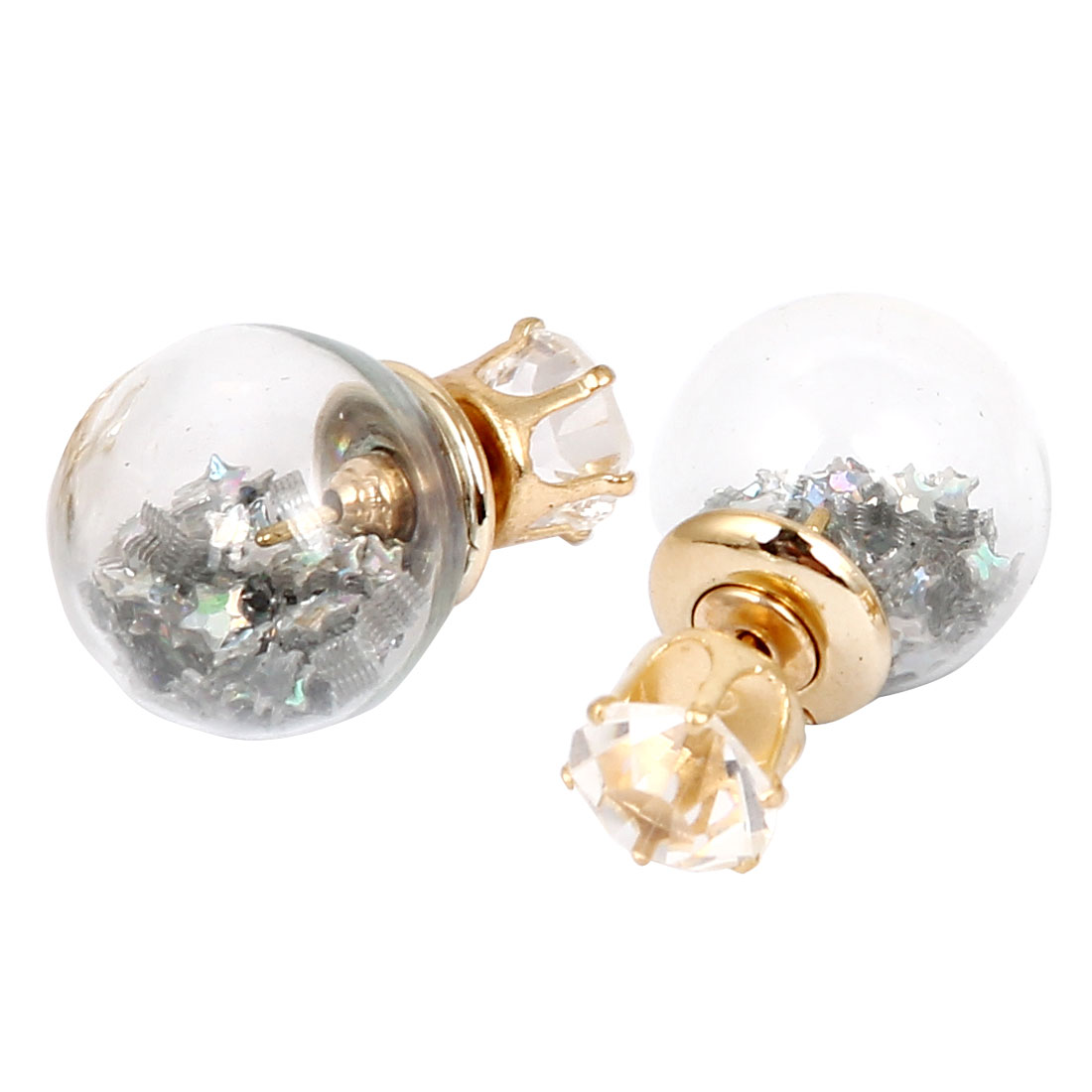 Women Faux Crystal Inlaid Round Bulb Design Double Side Stud Earrings Silver Tone Pair