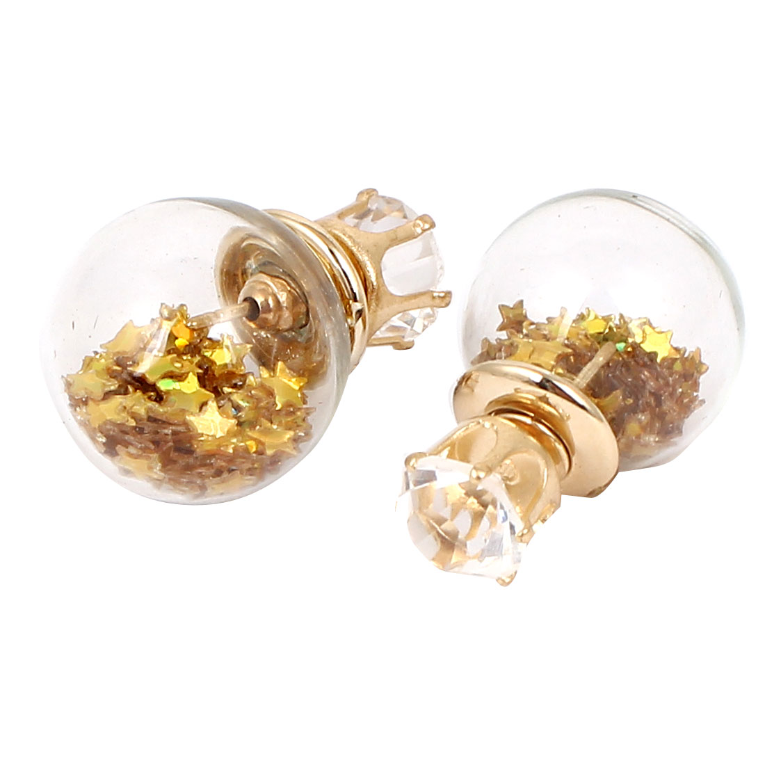 Women Faux Crystal Inlaid Round Bulb Design Double Side Stud Earrings Gold Tone Pair