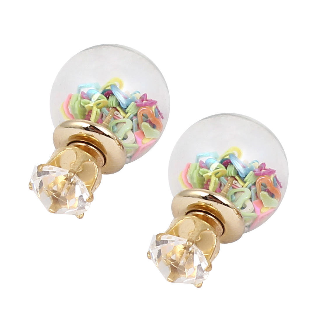 Women Faux Crystal Decor Round Bulb Shape Double Sides Stud Earrings Colorful Pair