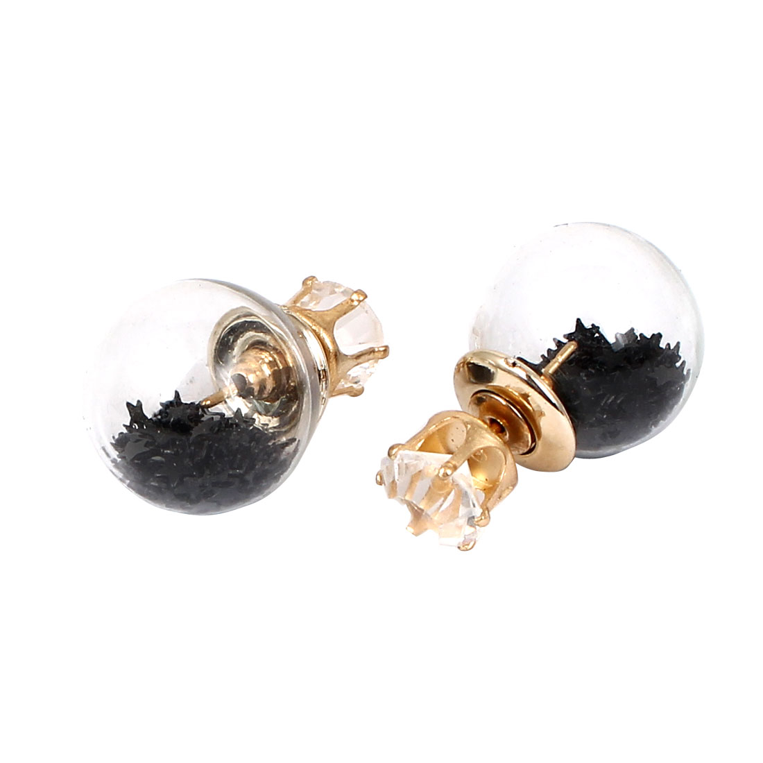 Women Faux Crystal Inlaid Round Bulb Design Double Side Stud Earrings Black Pair