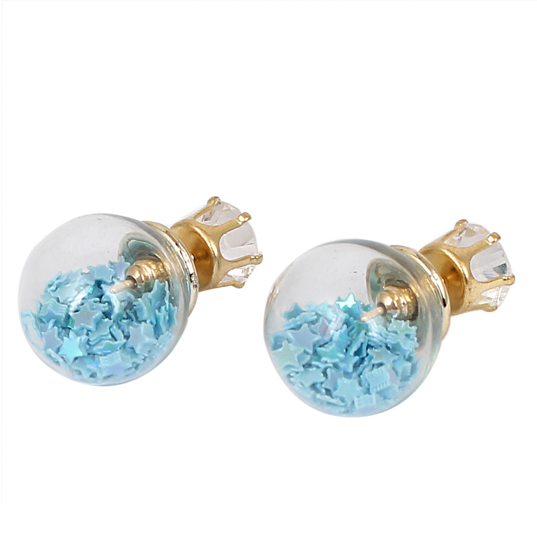 Women Faux Crystal Inlaid Round Bulb Design Double Side Stud Earrings Blue Pair