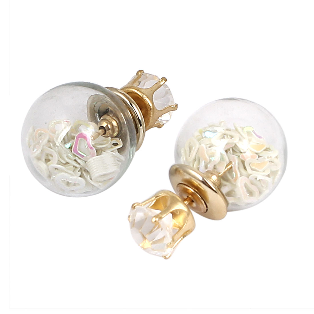 Women Faux Crystal Decor Round Bulb Shape Double Sides Stud Earrings White Pair