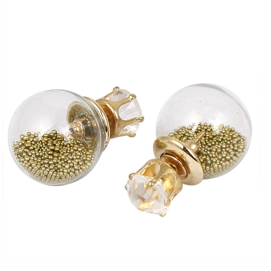 Women Faux Crystal Decor Round Bulb Design Double Side Stud Earrings Gold Tone Pair