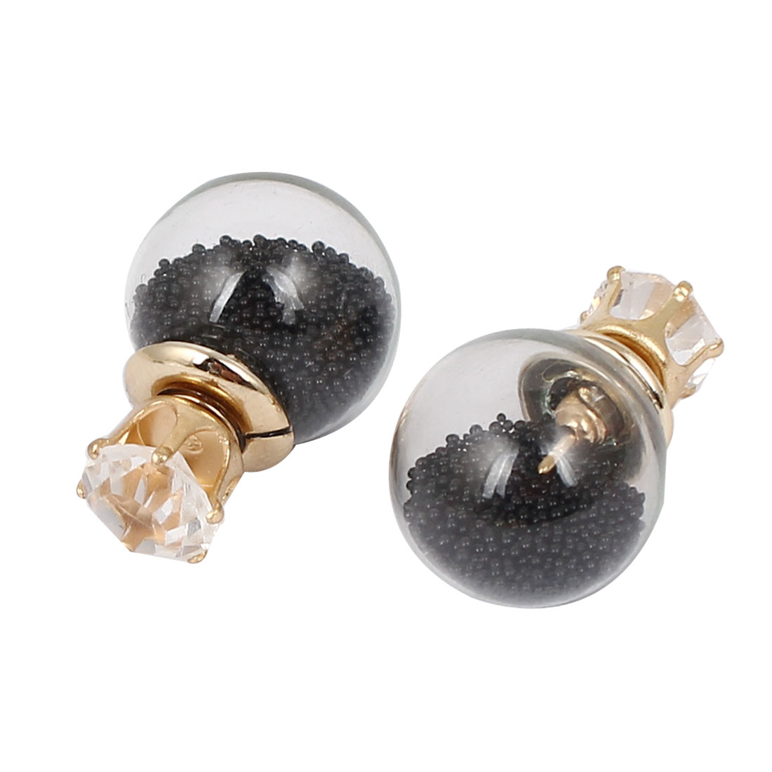 Women Faux Crystal Decor Round Bulb Design Double Side Stud Earrings Black Pair