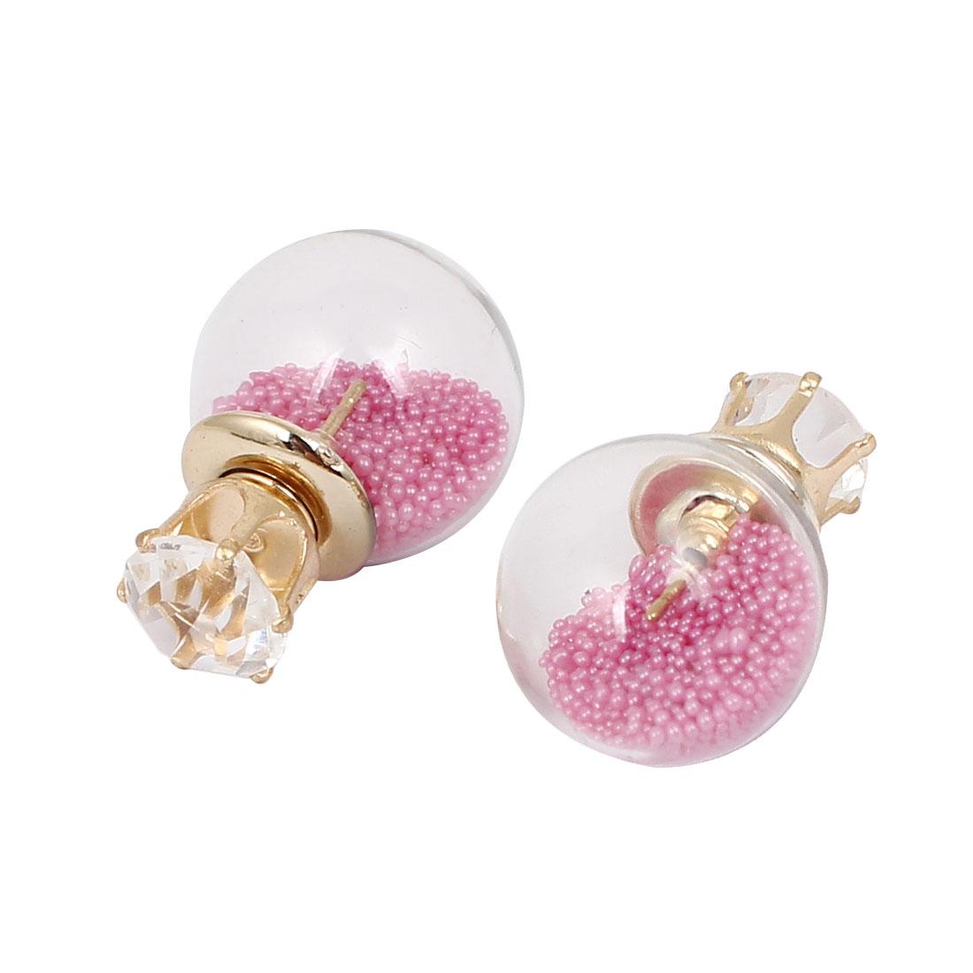 Lady Faux Crystal Decor Round Bulb Design Double Side Stud Earrings Fuchsia Pair