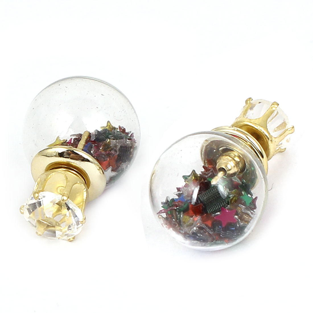 Women Faux Crystal Inlaid Round Bulb Design Double Sides Stud Earrings Colorful Pair