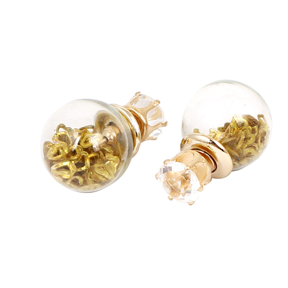 Women Faux Crystal Decor Round Bulb Shape Double Sides Stud Earrings Gold Tone Pair