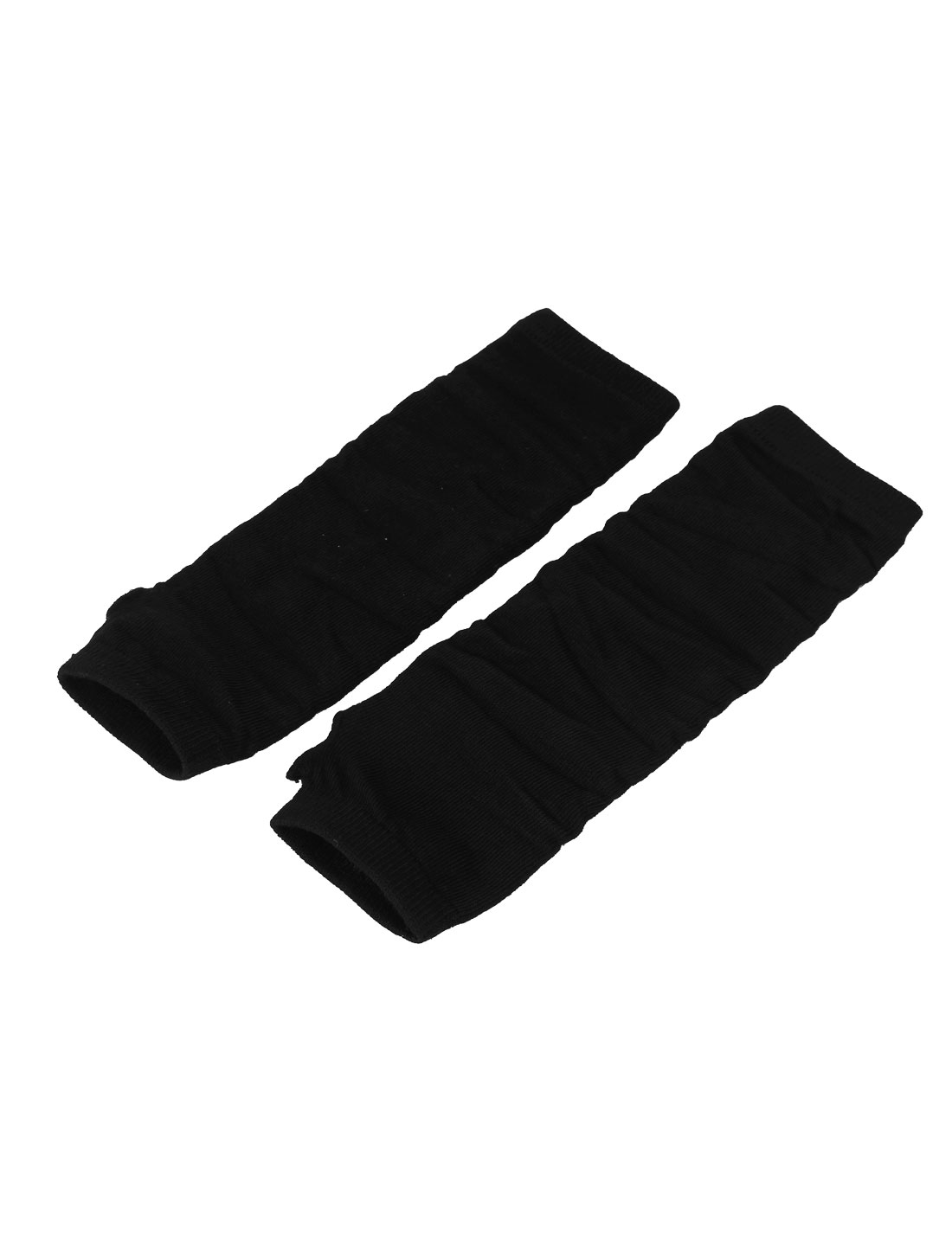 Women Winter Stretchy Sleeve Knitted Arm Warmer Fingerless Gloves Black Pair