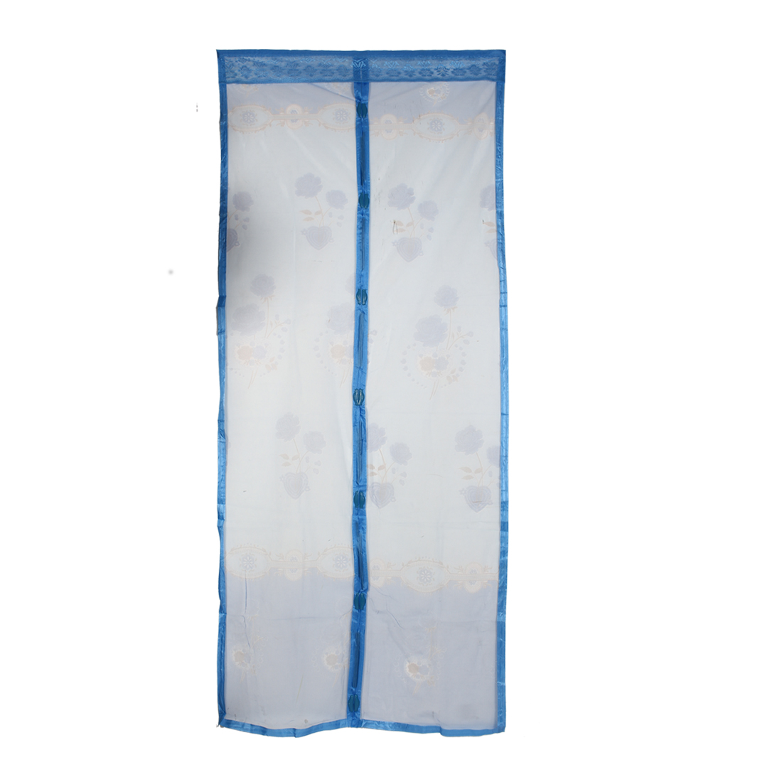 210cm x 90cm Flower Pattern Anti Mosquito Bug Mesh Magnetic Screen Door Blue