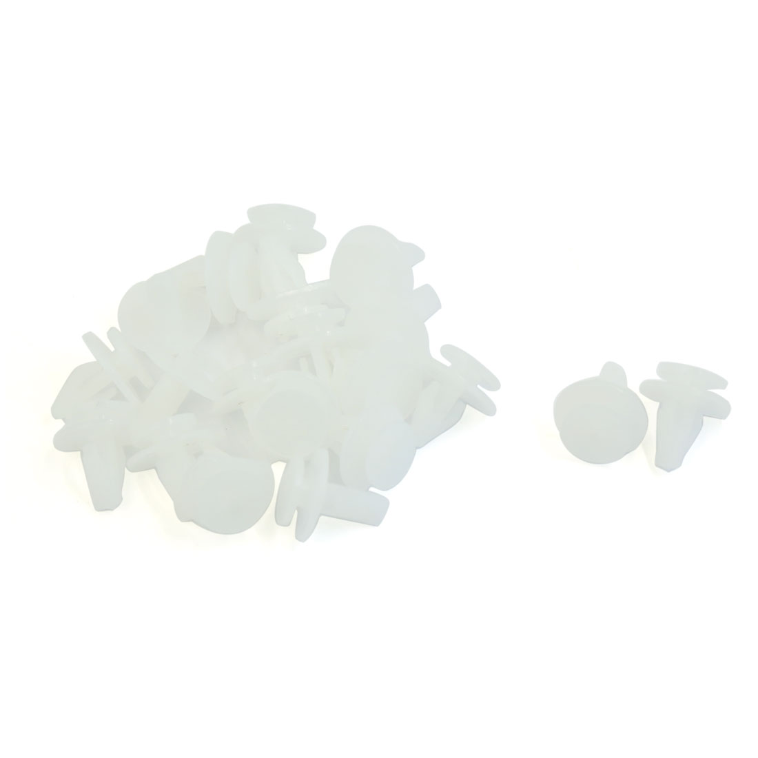 6mm Hole Car Plastic Splash Guard Rivet Trim Fastener Moulding Clips White 20PCS
