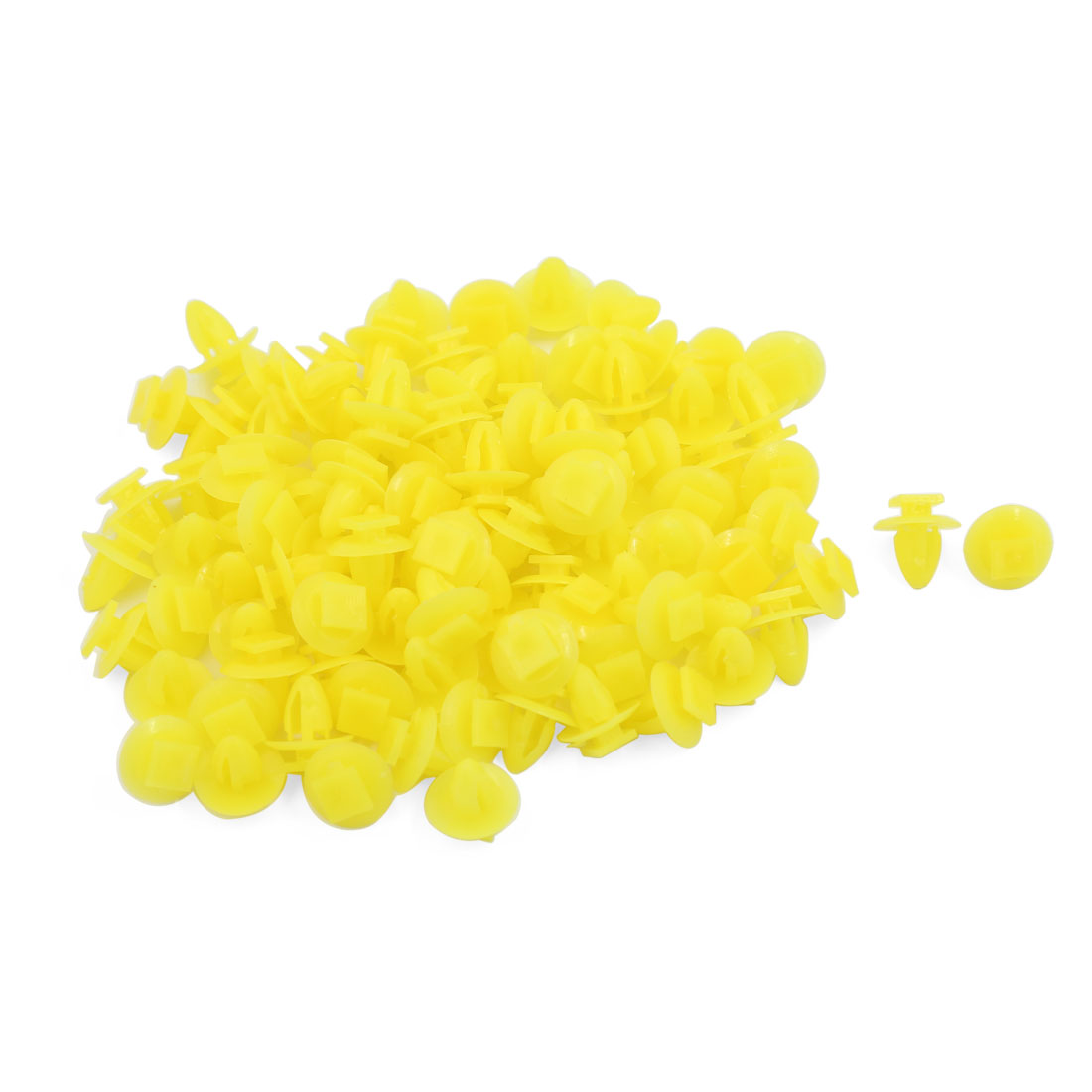 100 Pcs Yellow Plastic Rivet Trim Fastener Moulding Clips 5mm x 11mm x 13mm