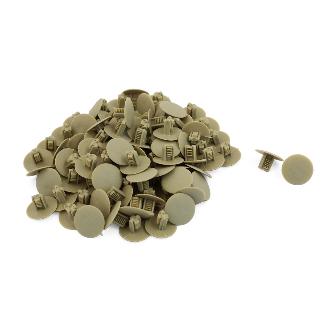 100pcs Beige Plastic Rivet Buckle Interior Moulding Carpet Floor Mat Clips 8.5mm