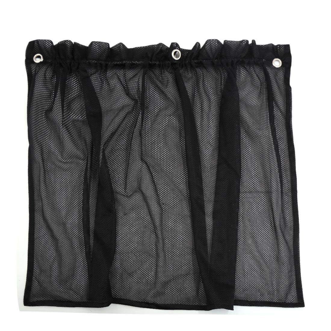 71cm x 43cm Car Sun Shade Side Window Nylon Mesh Curtain Foldable Sunshade UV Protection Black