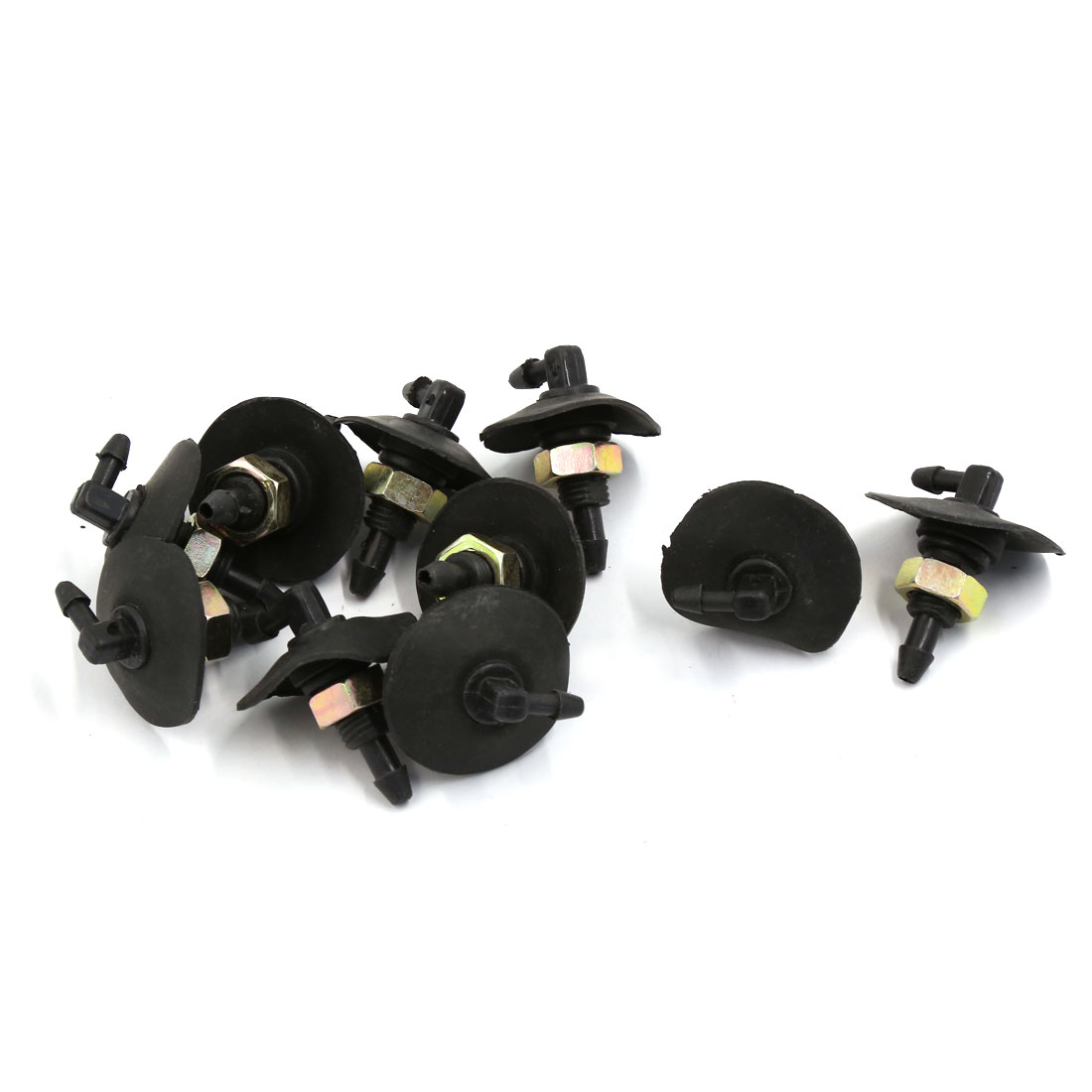 9mm Thread Dia Black Windshield Winper Washer Sprayer Nozzle Replacement 10 Pcs