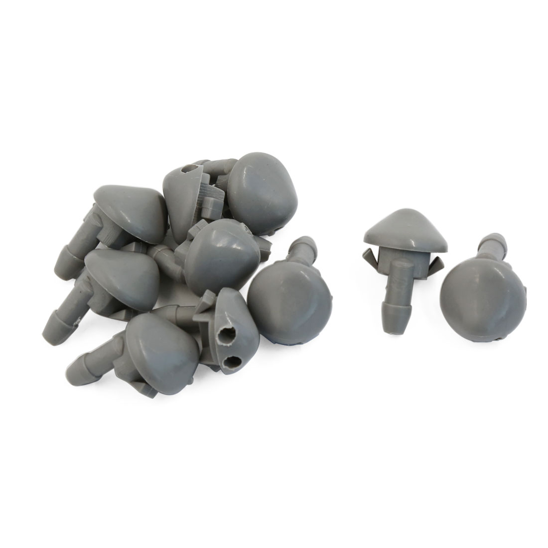 10 Pcs Double Holes Windshield Glass Water Spray Washer Nozzle Gray for Car