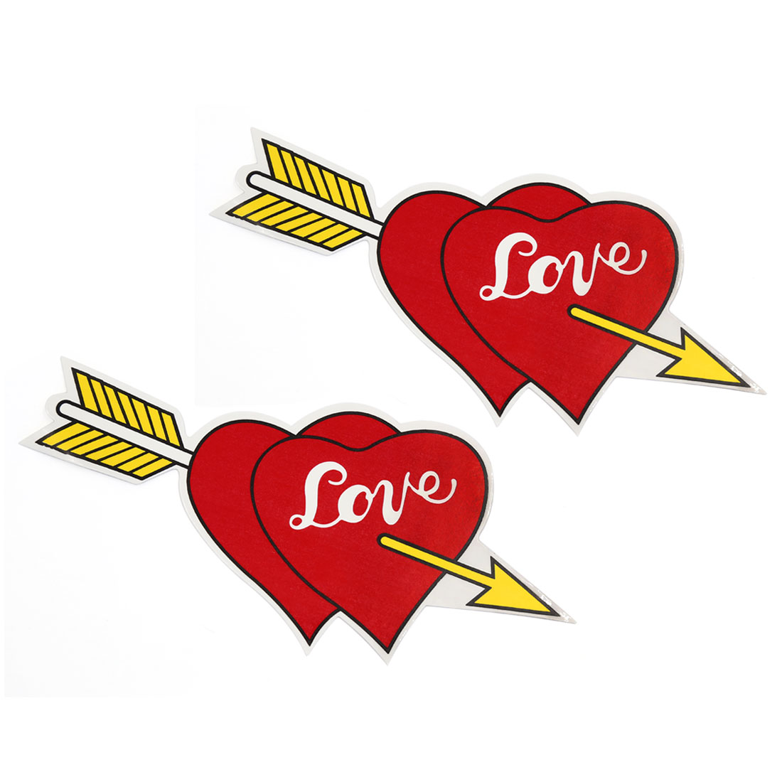 Arrow Through Hearts Design Car Sticker Auto Exterior Adhesive Decal Yellow Red 2 Pcs