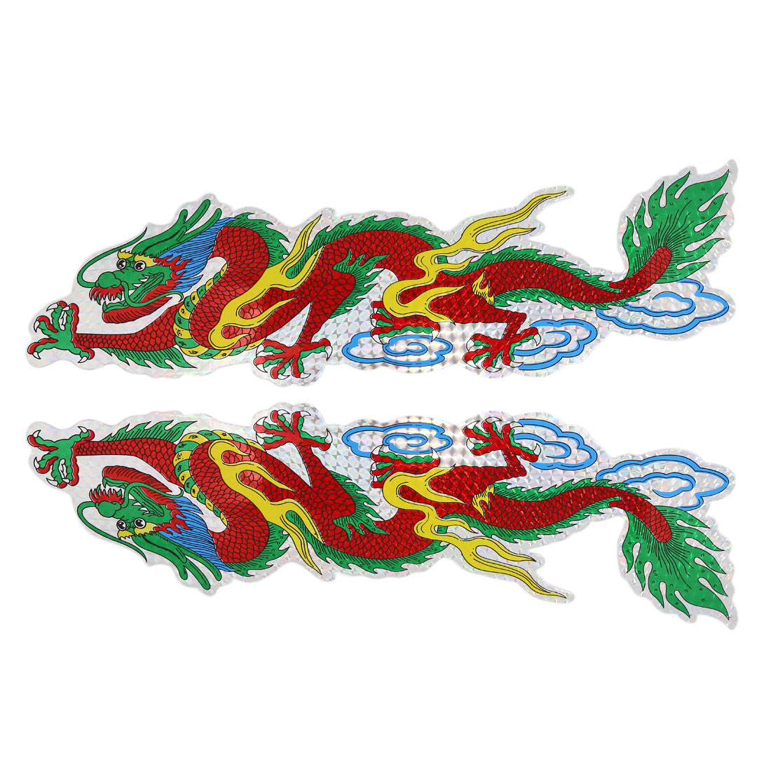 Dragon Pattern Self-adhesive Graphic Decal Exterior Sticker 41.5cmx11cm 2 Pcs
