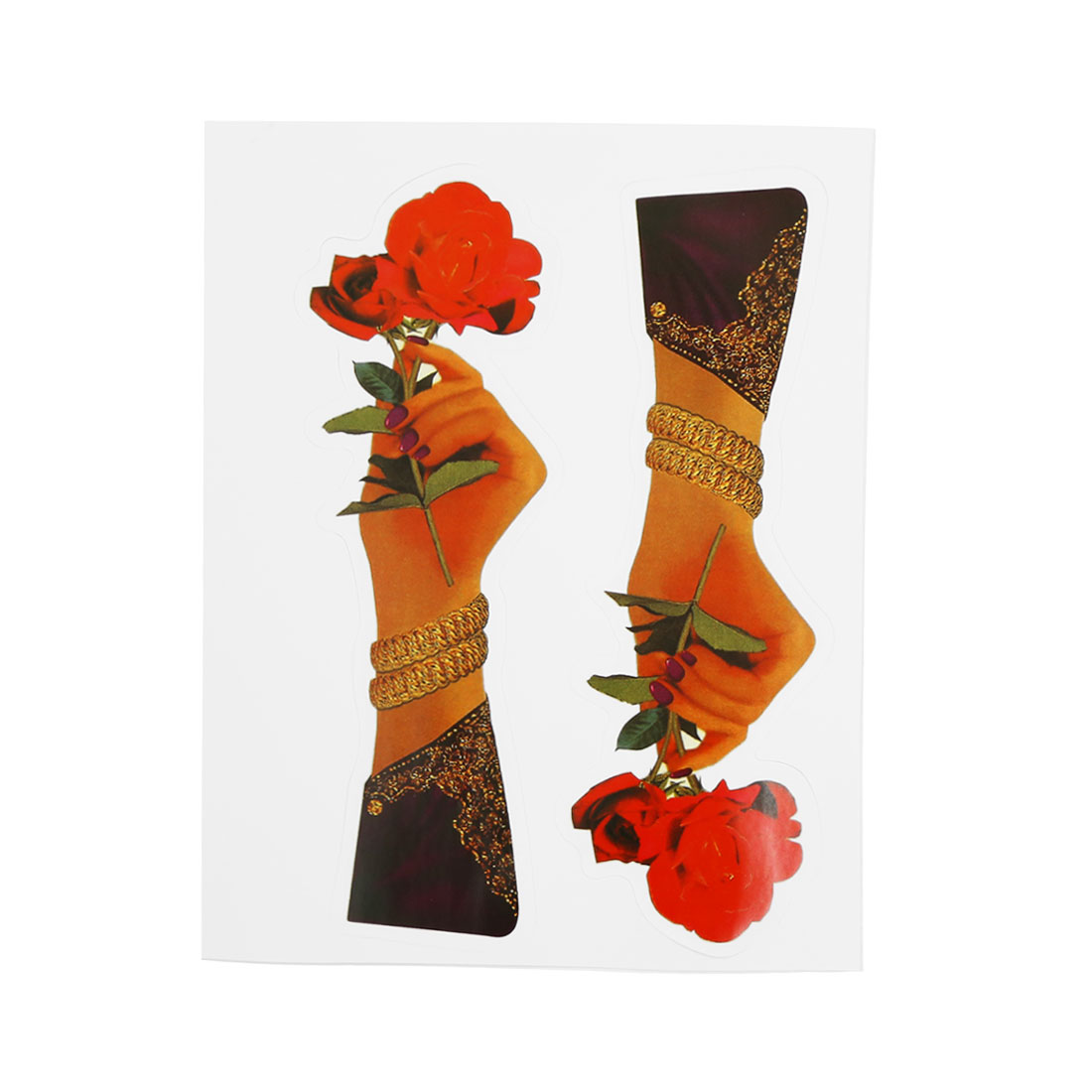2D Style Hand Holding Flower Print Stick-on Decorative Sticker Decal for Car