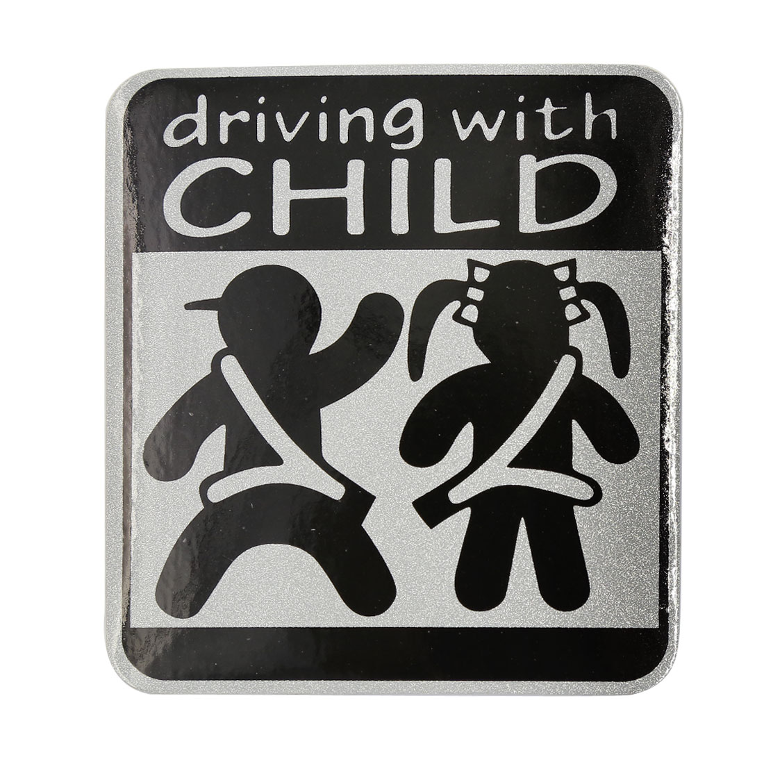 DRIVING WITH CHILD Pattern Warning Reflective Sticker Car Exterior Decor