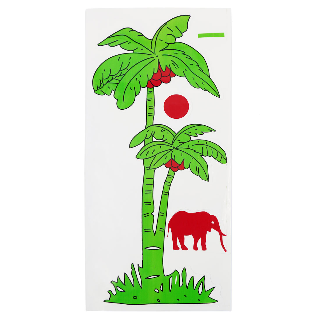 Green Coconut Tree Red Elephant Pattern Sticker Decor Graphic Decal for Car