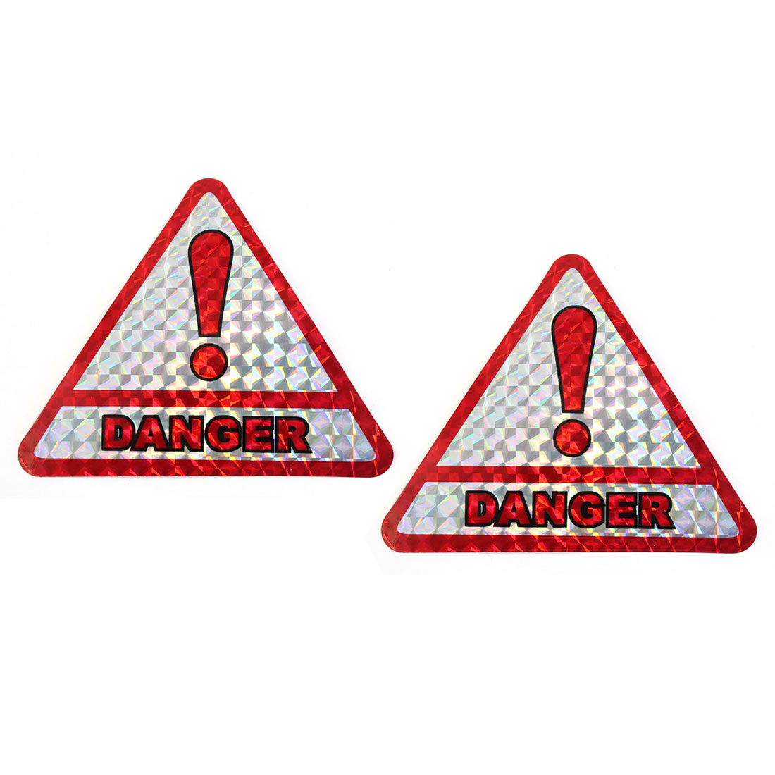 Red DANGER Print Self-adhesive Reflective Sticker Decal Car Exterior Decor 2 Pcs