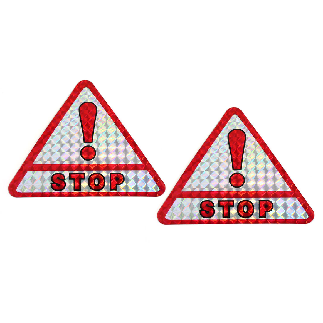 Red Slive Tone STOP Printed Triangle Shaped Car Reflective Sticker Tape 2pcs