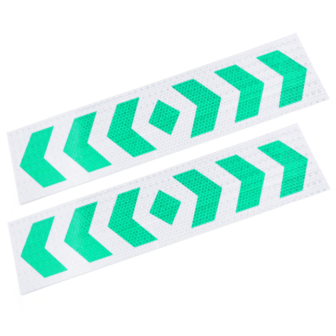 2pcs 39cm x 9.5cm Arrows Print Self Adhesive Car Auto Reflective Warning Sign Stickers Decal Green Sliver Tone