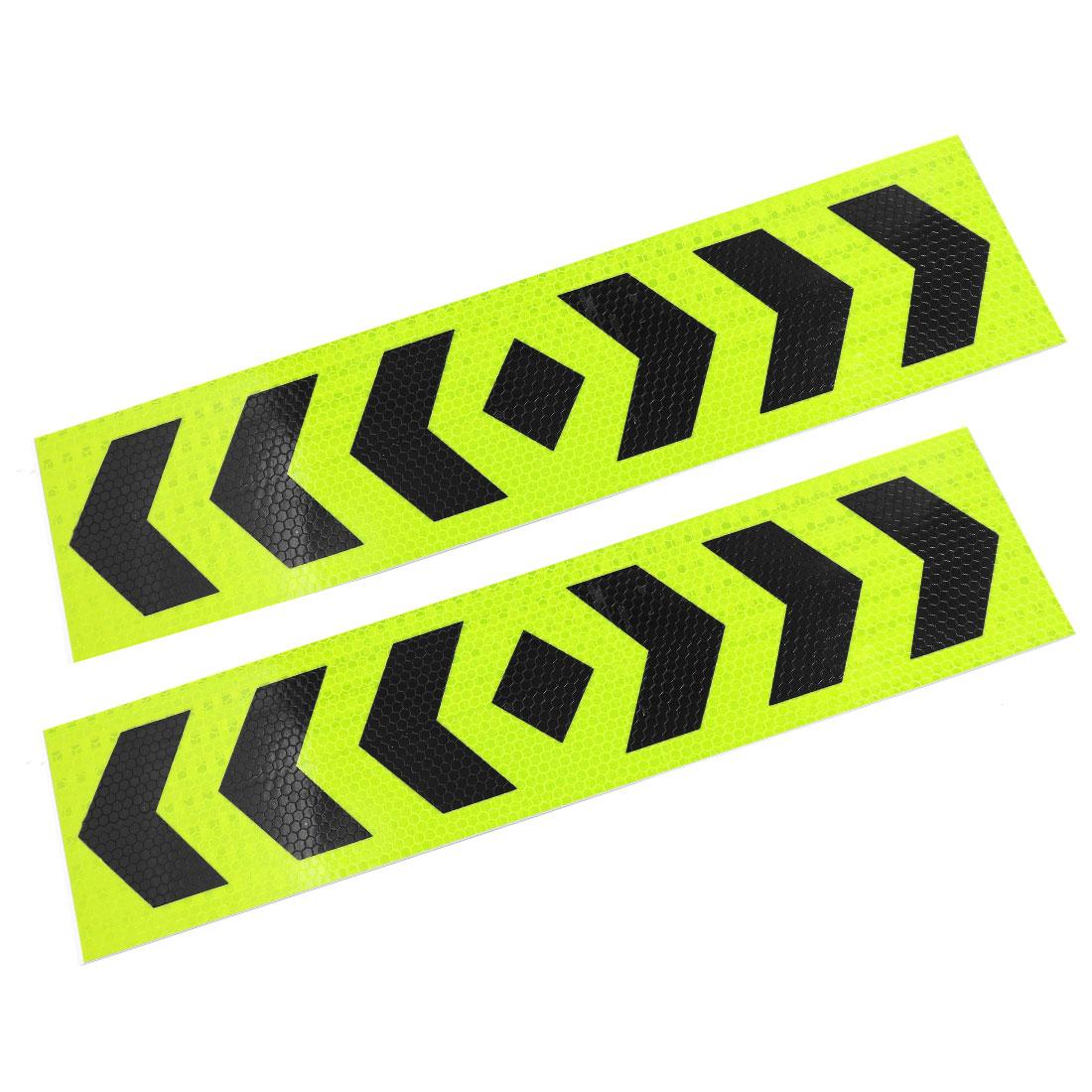 Shiny Green Black Arrows Pattern Stick-on Reflective Sticker 39cm Long 2 Pcs