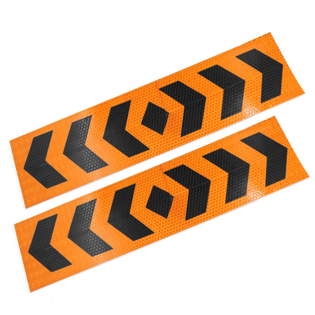 Orange Black Arrow Pattern Reflective Safety Sticker Decals 39cm x 9.5cm 2pcs