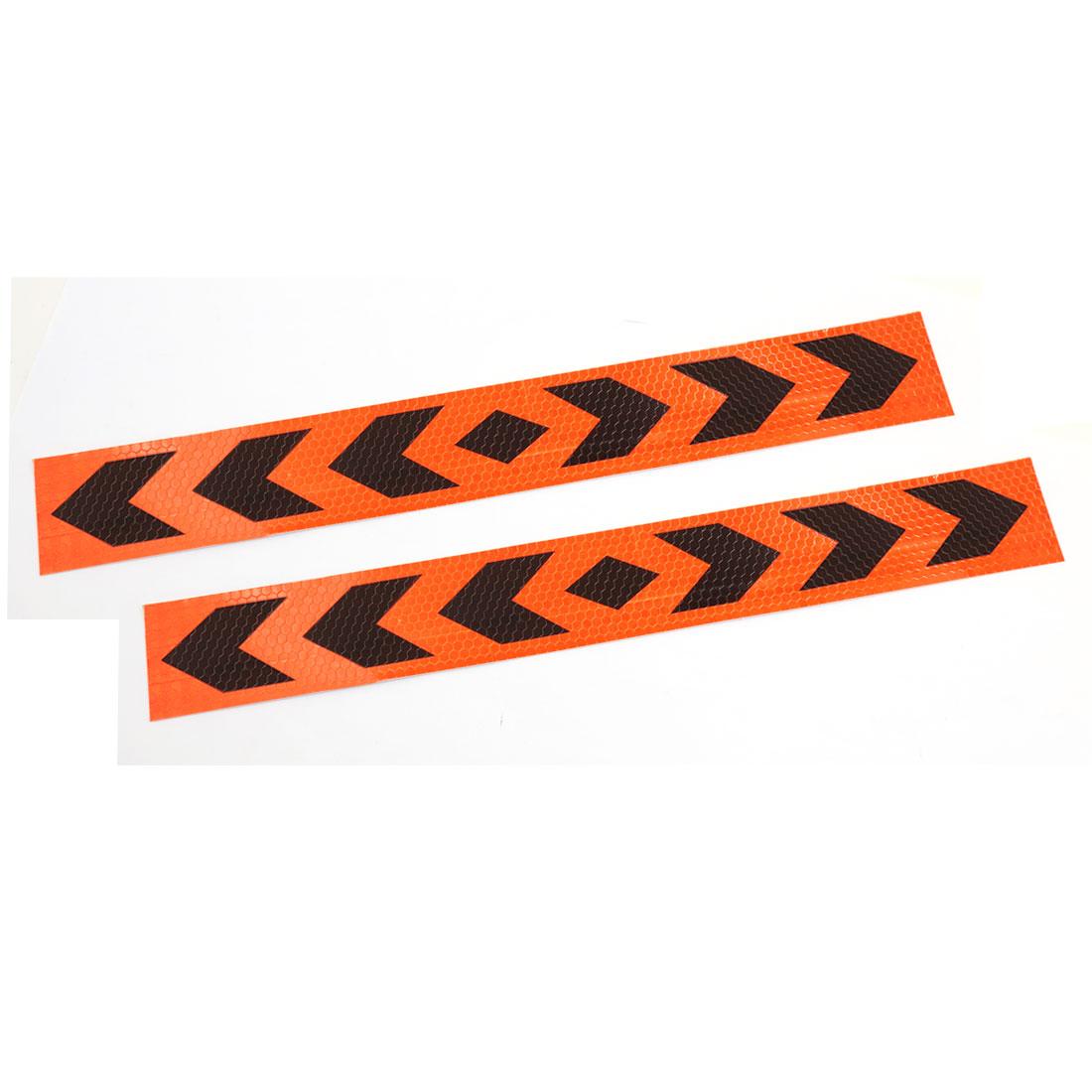 Orange Black Arrows Printed Adhesive Car Sticker Reflective Exterior Decals 2PCS