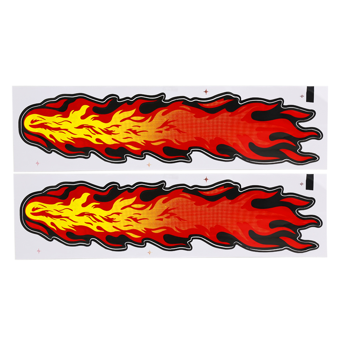 2 Pcs Plastic Fire Flame Style Self-adhesive Sticker Graphic Decal 52cm x 12.5cm