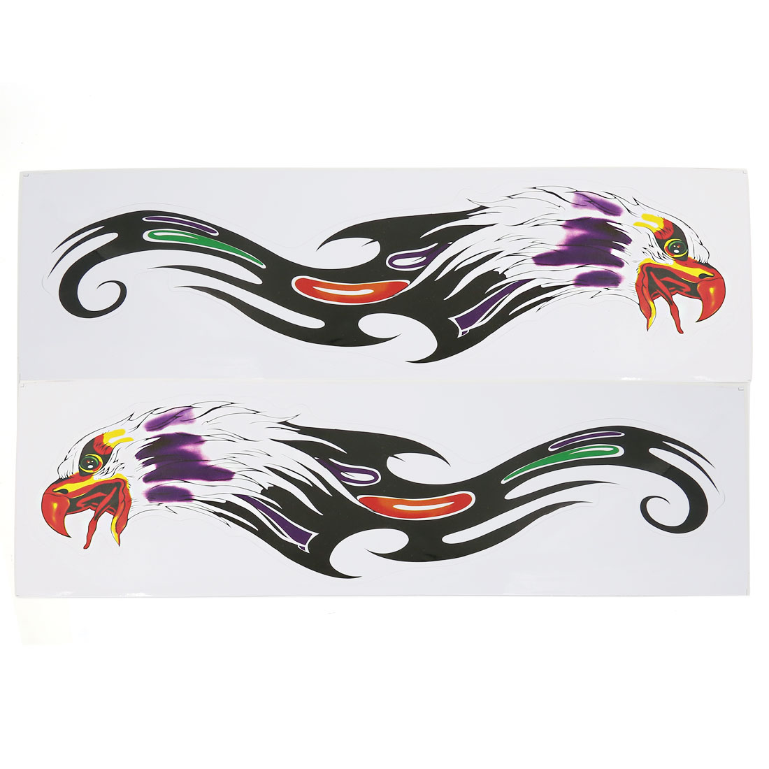 Car Window Door Self Adhesive Multicolor Eagle Head Pattern Decal Sticker 2 Pcs