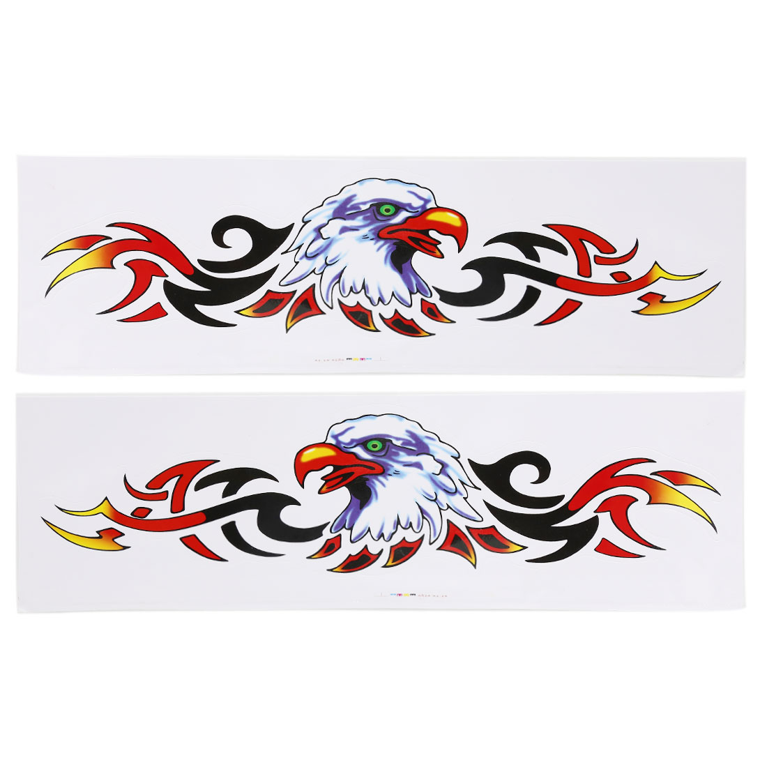 2PCS Eagle Head Fire Flame Design Adhesive Car Exterior Sticker Decor Auto Decal