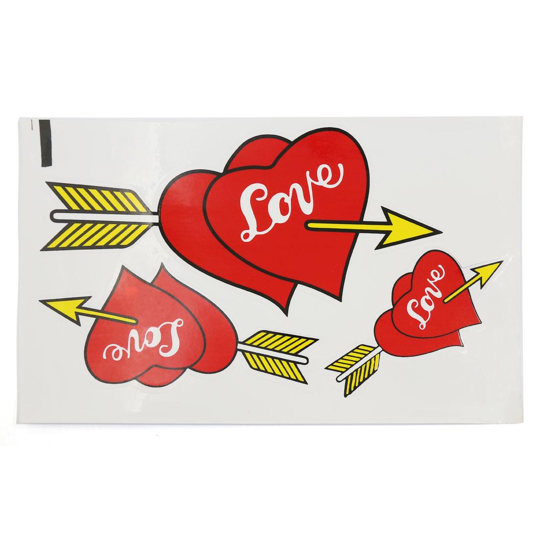 Car Body Ornament Arrow Through Hearts Design Graphic Decal Vinyl Sticker Decor