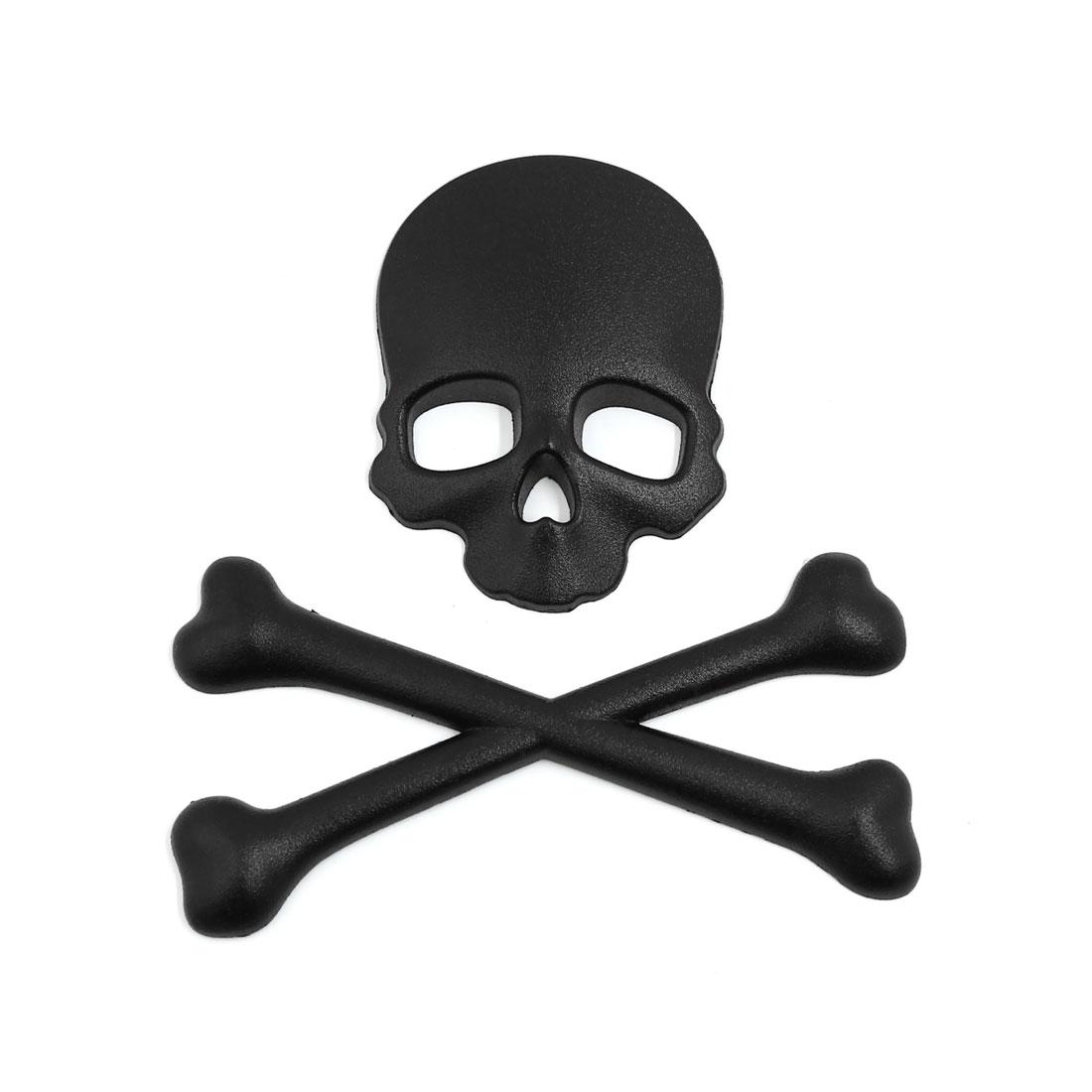 Devil Skull Bone Design 3D Motorcycle Car Emblem Badge Metal Sticker Decal Black