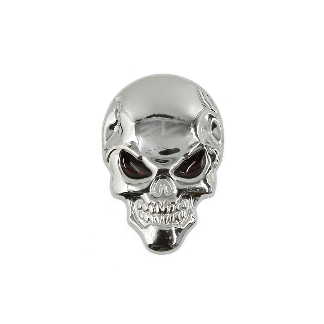 Metal 3D Skull Bone Shaped Adhesive Car Exterior Decorative Sticker Sliver Tone