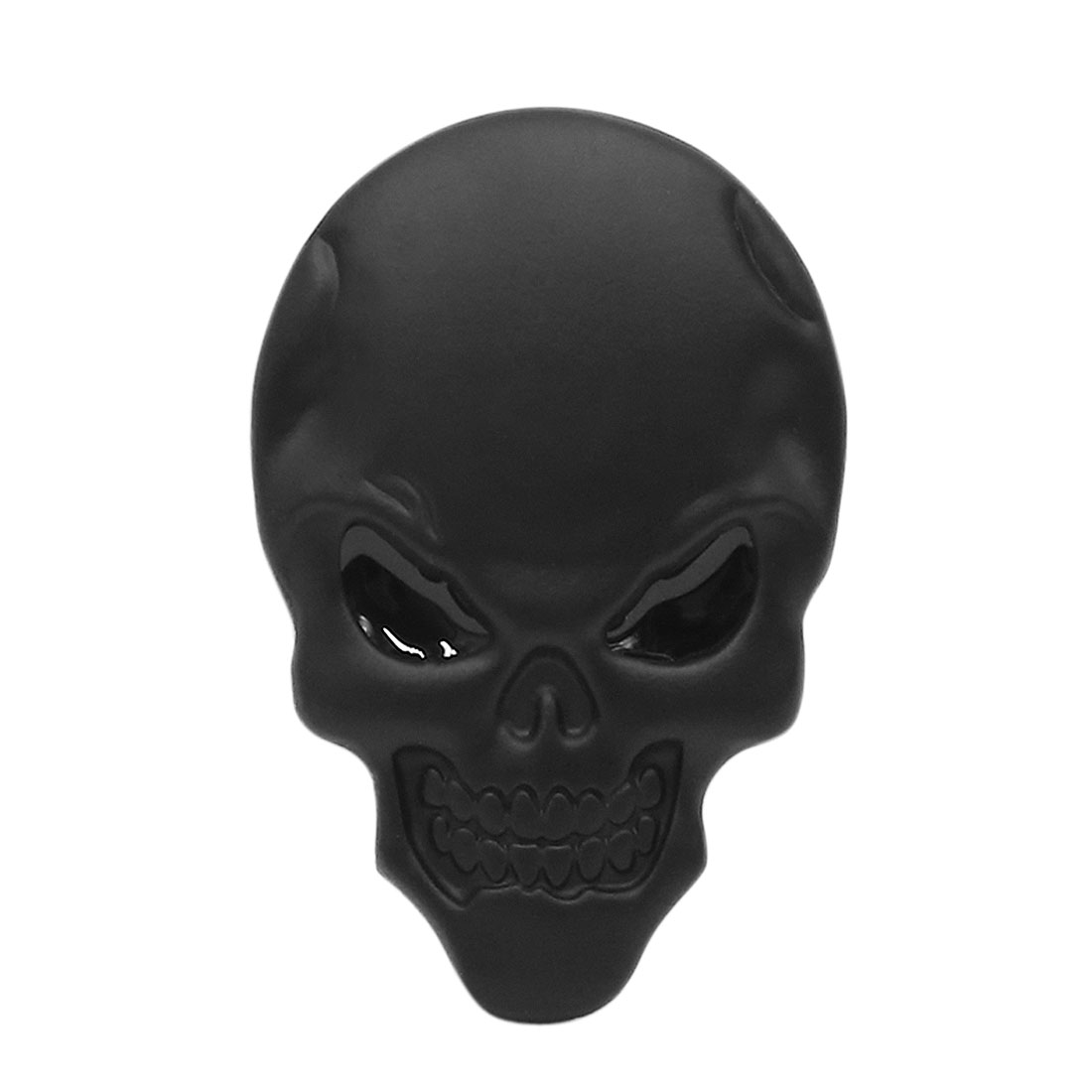 Black Metal Skull Bone Auto Car Body 3D Emblem Badge Self Adhesive Decor Sticker