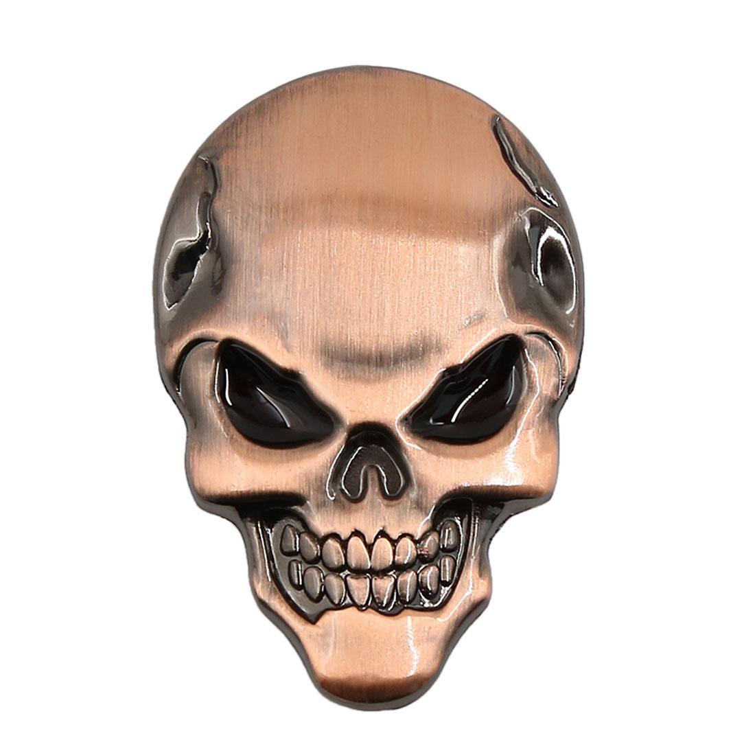 Metal 3D Skull Bone Shape Auto Sticker Badge Emblem Car Decal Copper Tone