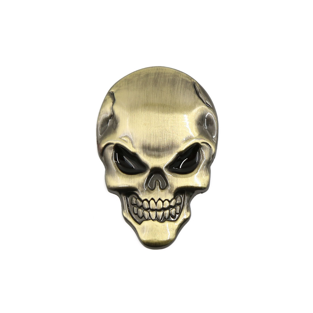 Skeleton Skull Bone Style Car Emblem Badge Decal 3D Sticker Decor Gold Tone