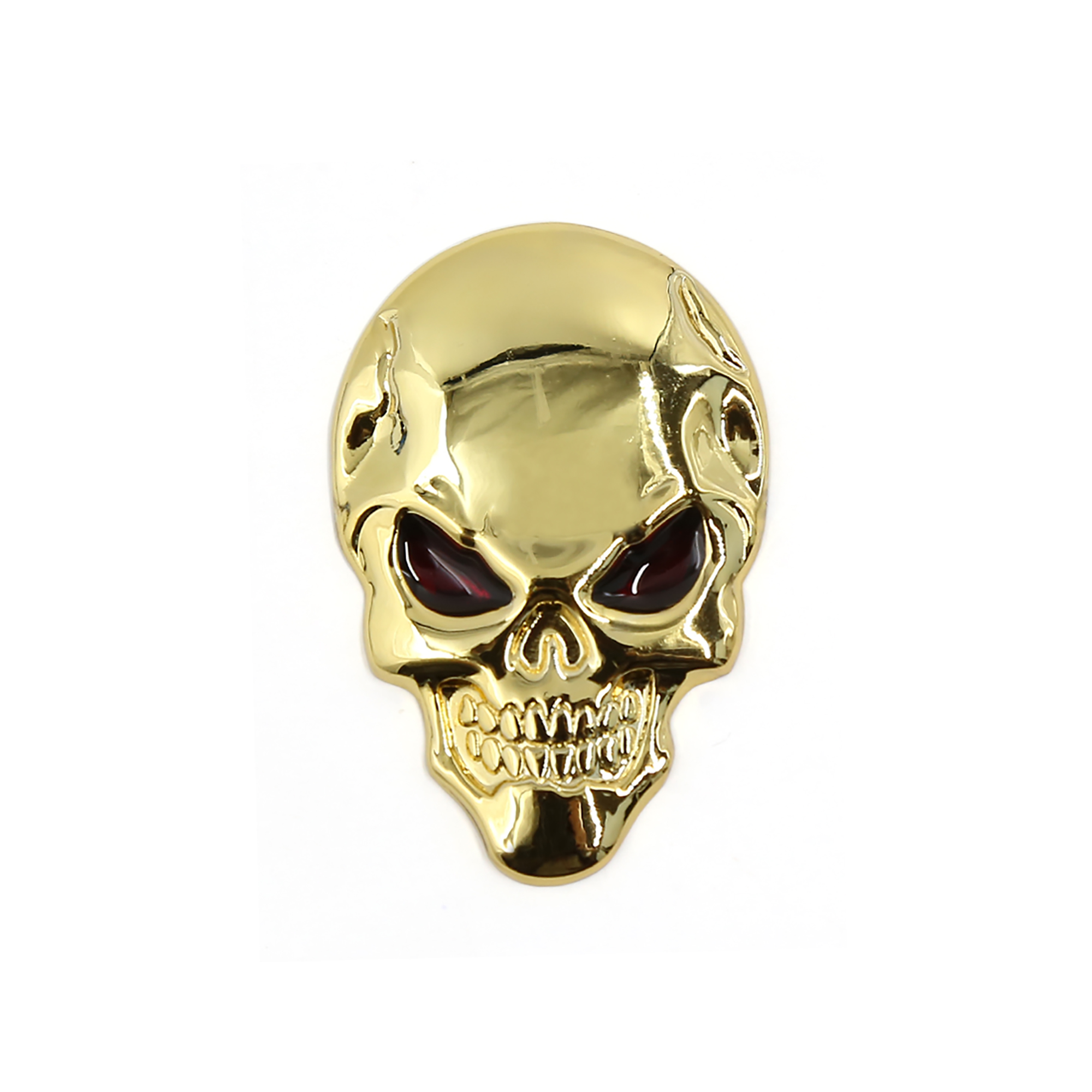 Gold Tone Metal Car Ornament Auto Skeleton Skull Bone Design 3D Sticker Badge
