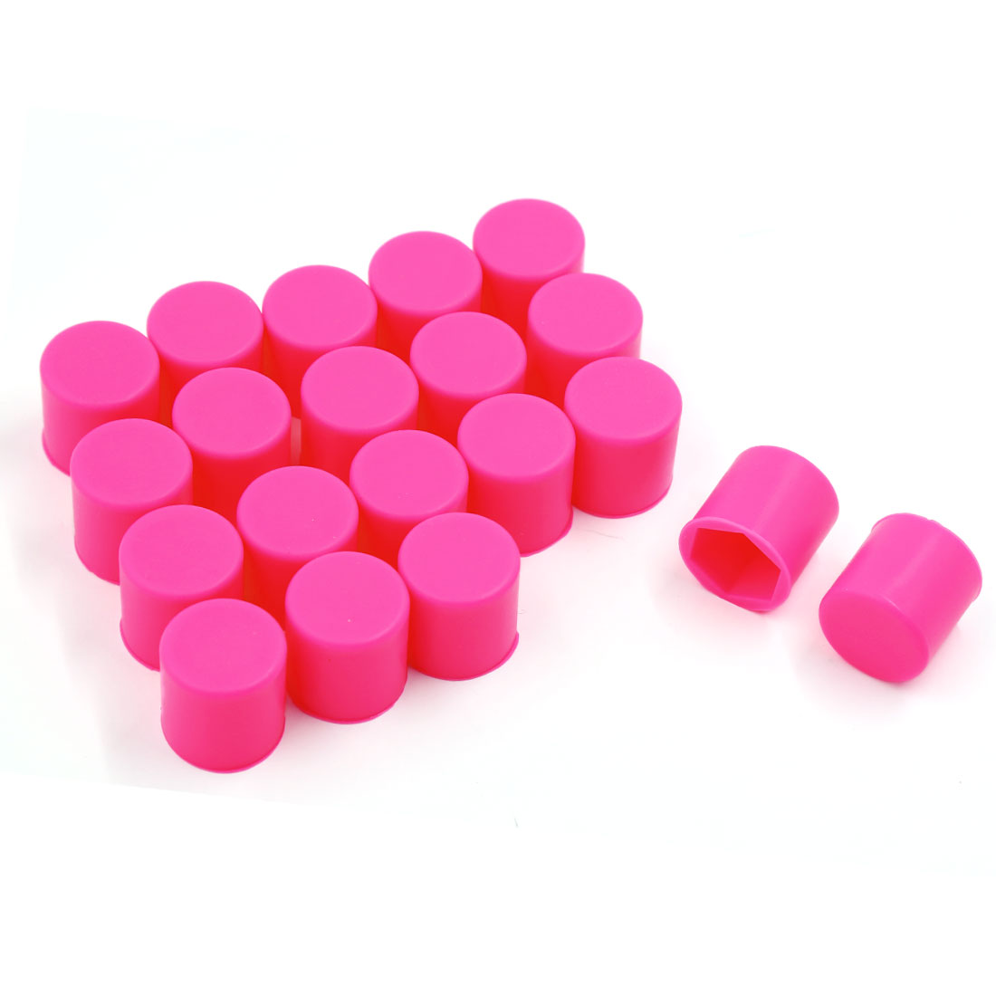 21mm Car Silicone Wheel Lug Nut Bolt Cover Tyre Screw Protective Cap Fuchsia 20 Pcs