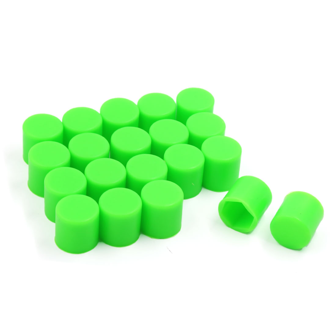 20 Pcs 19mm Auto Car Wheel Lug Nut Dust Cover Hub Bolt Screw Hexagonal Cap Green