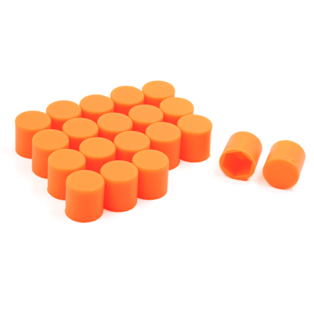 20PCS 17mm Silicone Car Wheel Lug Bolt Nut Cover Hexagonal Protective Cap Orange