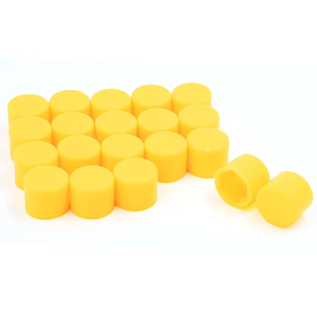 20 Pcs Yellow Silicone Wheel Lug Bolt Nut Cover Hexagonal Cap 17mm for Car Auto