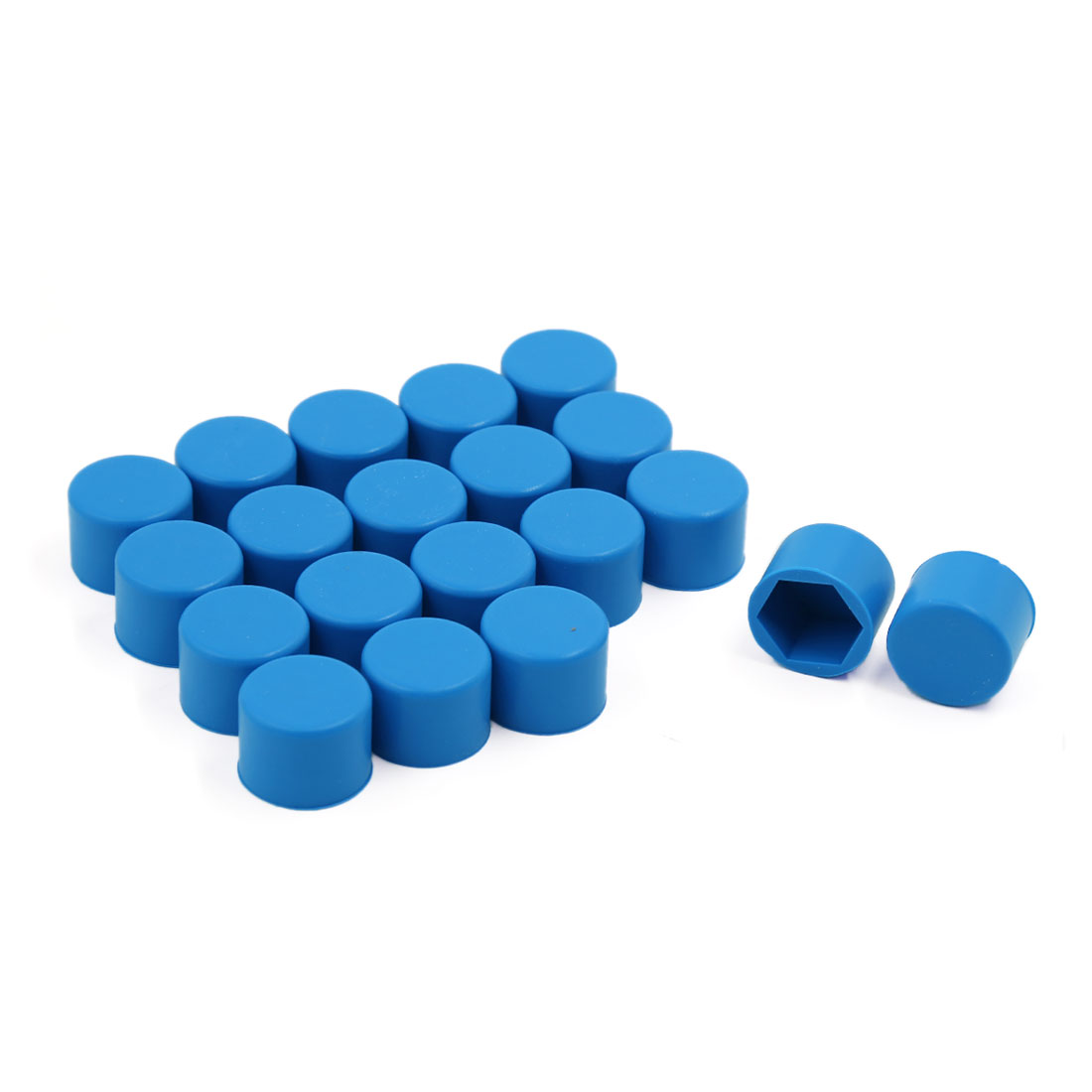 20 Pcs Blue Car Wheel Hex Nuts Bolts Hub Screw Covers Caps Protector 21mm