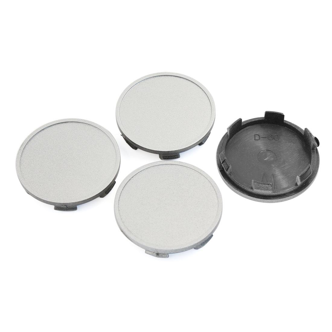 4PCS Sliver Tone 6 Clips Car Hood Emblem Wheel Center Hub Caps Covers 64mm Dia