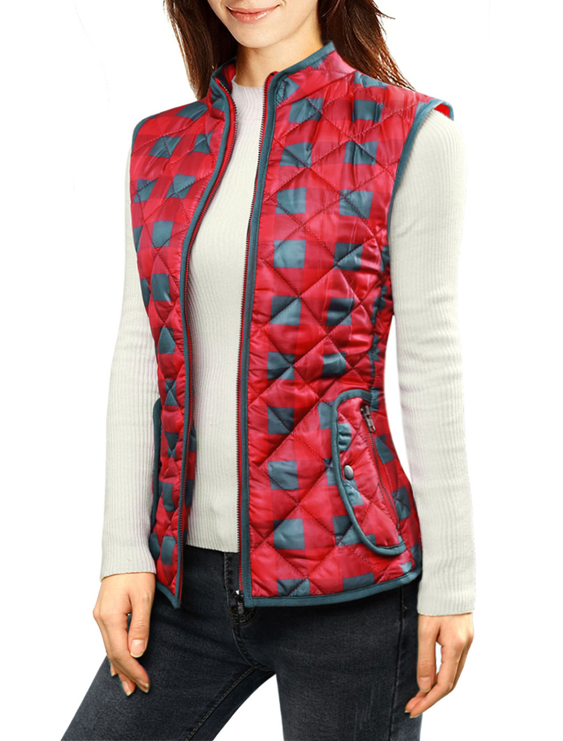 Women Stand Collar Zippered Plaids Quilted Padded Vest Red M
