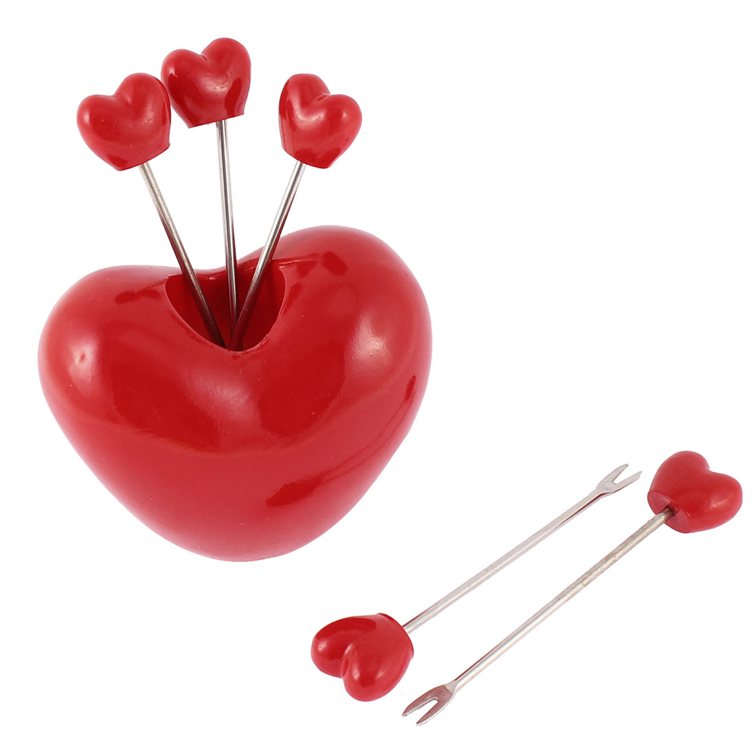 Home Kitchen Salad Heart Shaped Holder Fruit Fork 5-Forks Set Red