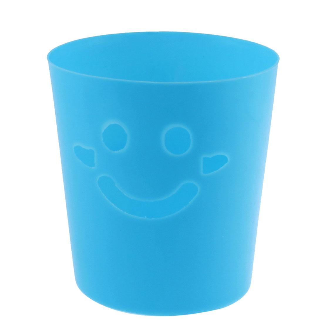 Desktop Smiling Face Design Mini Litter Trash Can Storage Bucket Blue